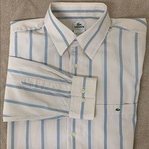 Lacoste Shirt Size 44 Blue/Tan Pinstriped 086